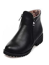 Women's Zipper Low-Heels PU Solid Low-top Boots