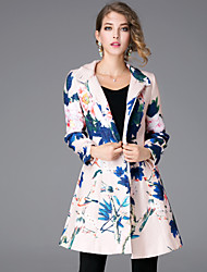 JOJO HANS Women's Casual/Daily Chinoiserie CoatFloral Stand Long Sleeve Winter Beige Polyester