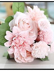"""Bouquets de Noiva Redondo Rosas Buquês Festa / noite Flôr Seca 6.69""""(Aprox.17cm)"""