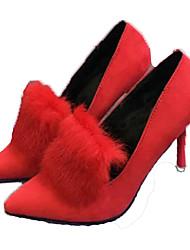 Feminino-Botas-Conforto-Salto Agulha-Preto Vermelho Cinza Chumbo-Camurça-Casamento