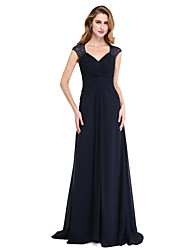 LAN TING BRIDE A-line Mother of the Bride Dress - Open Back Sweep / Brush Train Sleeveless Chiffon with Beading Criss Cross Ruching