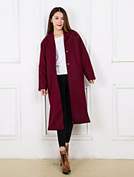 Women's Casual/Daily Simple Coat,Solid Long Sleeve Red Wool