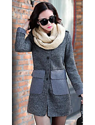 Women's Casual/Daily Sexy Coat,Solid Long Sleeve Red / Gray Cotton