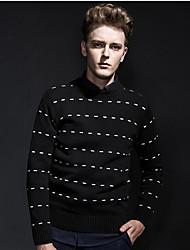 Men's Casual/Daily Simple Long Cardigan,Striped Black Round Neck Long Sleeve Faux Fur Winter Medium Micro-elastic