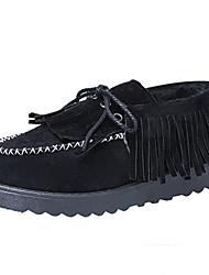 Women's Boots Fall Winter Comfort Fur Outdoor Casual Flat Heel Tassel Black Brown Green Pink Walking