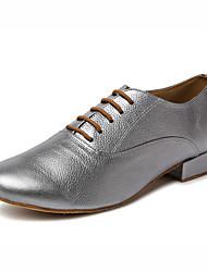Non Customizable Men's Dance Shoes Leather Leather Latin / Jazz / Tap / Modern Heels Cuban Heel Professional / Performance Gray / Gold