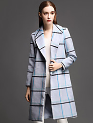 ANGEL Women's Casual/Daily Simple CoatPlaid Notch Lapel Long Sleeve Fall / Winter Blue Wool / Polyester Thick