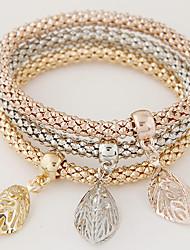 Women Fashion Simple Rhinestones Hollow Leaf Charm Bracelet Gift