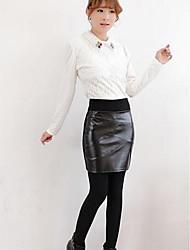 Women's Bodycon Solid Skirts,Casual/Daily Low Rise Midi Zipper PU Micro-elastic Fall