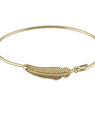 Fashion Gold Color Leaf Shape Thin Bangles