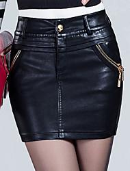 Femme Jupes,Trapèze / Moulante Couleur PleineTaille Normale Au dessus des genoux Décontracté / Quotidien PU fermeture Éclair