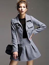 Damen Solide Einfach Lässig/Alltäglich Set Rock Anzüge,Hemdkragen Herbst / Winter Langarm Grau Baumwolle