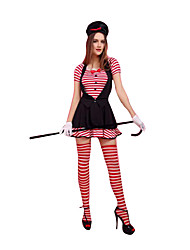 Costumes de Cosplay Fête / Célébration Déguisement Halloween Rouge/noir Rayé Robe / Gants / Chapeau / Plus d'accessoires Féminin