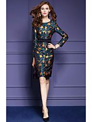 Gaine Robe Femme Sortie / Grandes Tailles simple,Jacquard Col Arrondi Au dessus du genou Manches Longues Vert Polyester Automne / Hiver