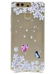 Pour Transparente Motif Coque Coque Arrière Coque Papillon Flexible PUT pour HuaweiHuawei P9 Huawei P9 Lite Huawei P9 plus Huawei P8 Lite