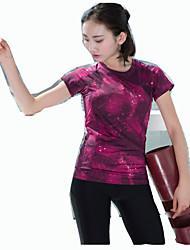 Femme Manches Courtes Course / Running Tee-shirt Confortable Printemps Eté Vêtements de sport Yoga Sport de détente Course/Running