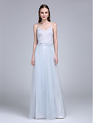 LAN TING BRIDE Floor-length Spaghetti Straps Bridesmaid Dress - Two Pieces Sleeveless Lace Tulle