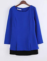 Robe Aux femmes Trapèze Simple,Imprimé Col Arrondi Mini Polyester