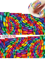 6sheets Colorful Geometry Water Transfer Nail Stickers