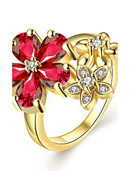CZ Diamond Vintage Finger Rings 18K Gold Plated Women Rings Flowers Sweet Elegant Gold Ring Fashion Jewelry KZCR386