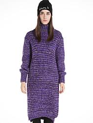 Feminino Reto / Tricô Vestido,Casual estilo antigo Estampado Gola Alta Altura dos Joelhos Manga Longa Azul / Roxo Lã / Algodão / Poliéster