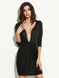 mini vestido plissado frente das mulheres de manga comprida