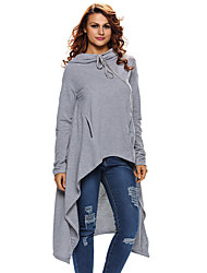 Women's Grey Plain Drawstring Irregular Oversize Hoodie