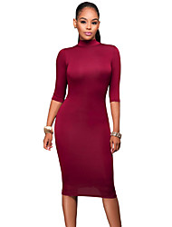Women's Burgundy Bodycon Mock Neck O-ring Accent Cut out Half Sleeve Midi Dress
