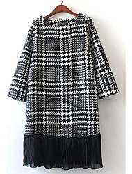 Women's Casual/Daily Simple Black and White Dress,Houndstooth Round Neck Midi Short Sleeve Black Others Fall / Winter High Rise Inelastic