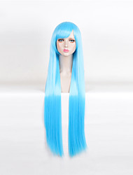 Long Straight Light Blue Heat Resistant Synthetic Wigs Cheap Wigs For Women Fashion Party