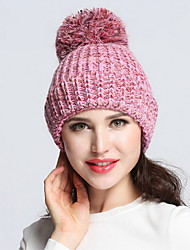 Women Men Winter Casual Outdoor Solid Color wool knit warm Mosaic Color miscellaneous lines Hairball hedging cap