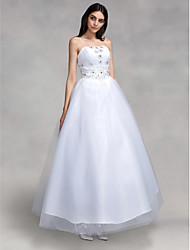 Ball Gown Wedding Dress Little White Dress Floor-length Strapless Tulle with Appliques Beading