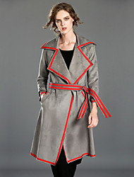 INPLUS LADY Women's Casual/Daily Vintage Trench CoatSolid Notch Lapel Long Sleeve Winter Gray Polyester Medium