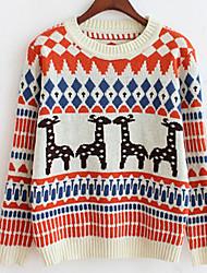 Damen Kurz Pullover-Lässig/Alltäglich Einfach Tierfell-Druck Blau Orange Lila Rundhalsausschnitt Langarm Baumwolle Herbst Winter Mittel