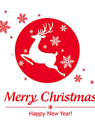 Wall Stickers Wall Decals Style Merry Christmas Deer PVC Wall Stickers