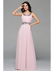 Floor-length Chiffon Sexy Bridesmaid Dress - A-line Scoop with Beading / Draping / Side Draping