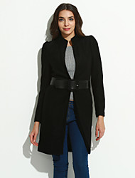 Women's Going out Simple Pea Coats,Solid Stand Long Sleeve Red / White / Black Wool / Polyester