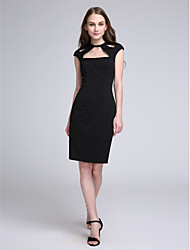 LAN TING BRIDE Knee-length Jewel Bridesmaid Dress - Little Black Dress Sleeveless Jersey
