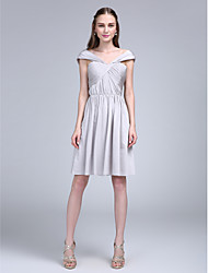 LAN TING BRIDE Knee-length Off-the-shoulder Bridesmaid Dress - Short Sleeveless Jersey