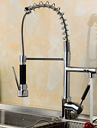 Deck Mounted Pullout Spray / Pre Rinse with Ceramic Valve Single Handle One Hole for Chrome , Kitchen