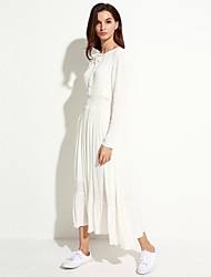 Women's Holiday / Casual/Daily Simple Loose / Swing Dress,Solid Round Neck Midi Long Sleeve White Cotton Spring / Fall Mid Rise