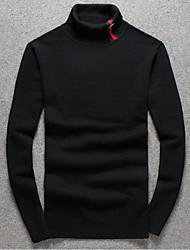 Herren Standard Pullover-Ausgehen Lässig/Alltäglich Einfach Solide Rot Schwarz Grau Rollkragen Langarm Polyester Herbst Winter Mittel