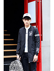 Men's Going out / Beach / Party/Cocktail Street chic / Active Trench Coat,Solid Stand Long Sleeve Spring White / Black / Gray Cotton