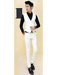 Men's Casual/Daily / Party/Cocktail Simple Spring / SummerSolid V Neck Long Sleeve White / Black Wool