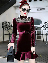 Women's Casual/Daily Simple Skater Dress,Solid Crew Neck Above Knee Long Sleeve Red / Black Faux Fur Fall / Winter High Rise Micro-elastic