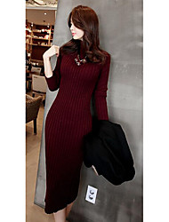 Women's Casual/Daily Simple Bodycon Dress,Solid Turtleneck Knee-length Long Sleeve Red / White / Black Acrylic Fall / Winter High Rise