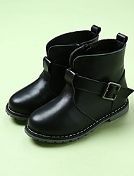 Boy's Boots Winter Others Cowhide Casual Flat Heel Buckle Black / Brown Walking