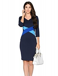Women's V Neck Plus Size / Work OL Bodycon Dress Color Block / Patchwork  Knee-length  Sleeve Pencil Dress