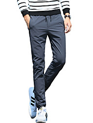 Men's Slim / Skinny Pants,Casual/Daily Solid Low Rise Button Cotton Micro-elastic Fall / Winter