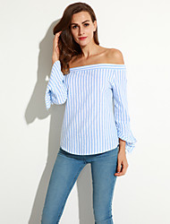 Women's Casual/Daily Vintage Fall Shirt,Striped Boat Neck Long Sleeve Blue Others Medium